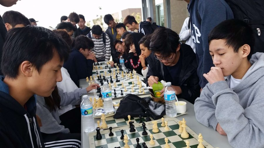 Students+gather+around+chess+boards+at+lunch+to+play+chess+with+their+friends.