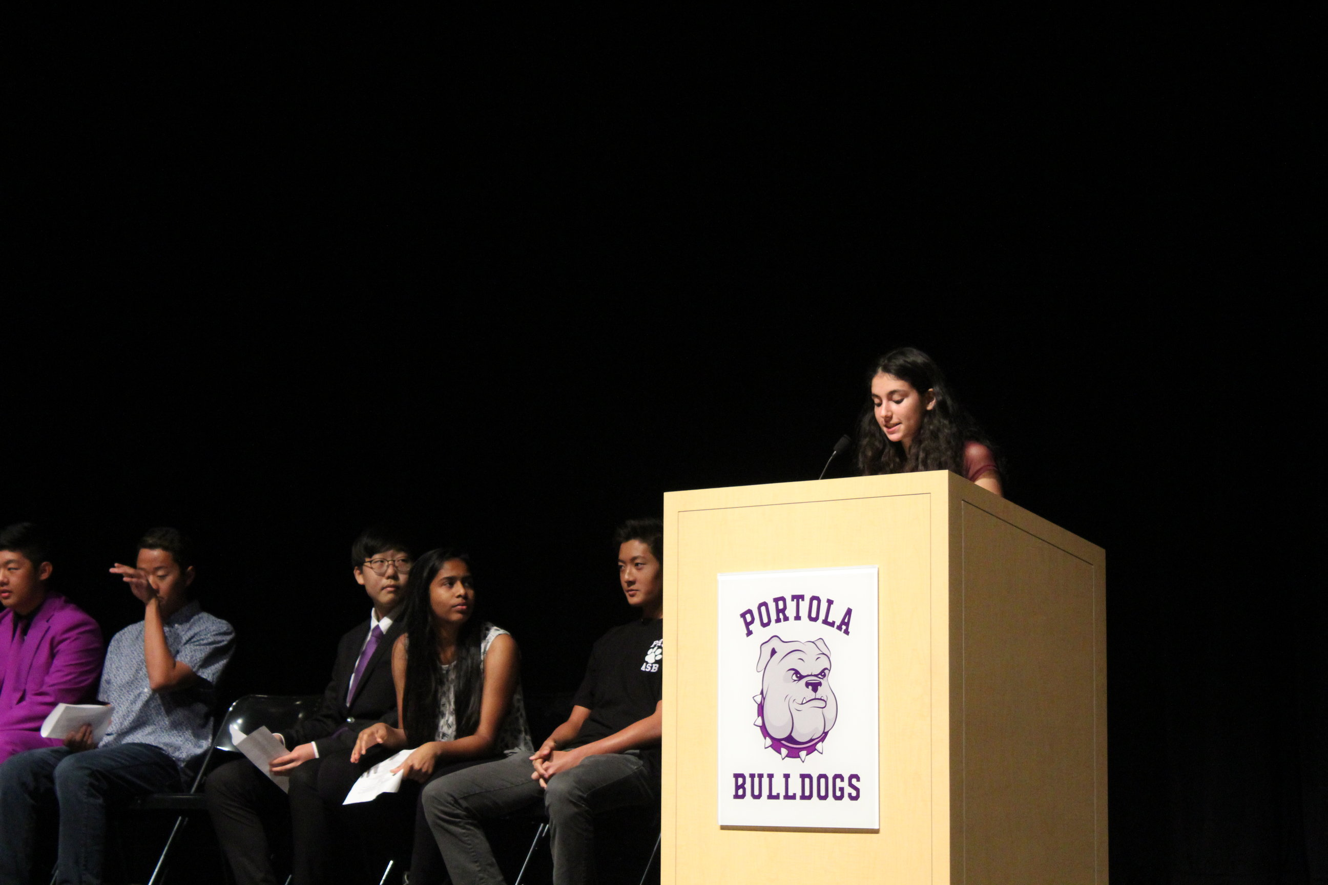 Liz Moerman speaks at the ASB election assembly.