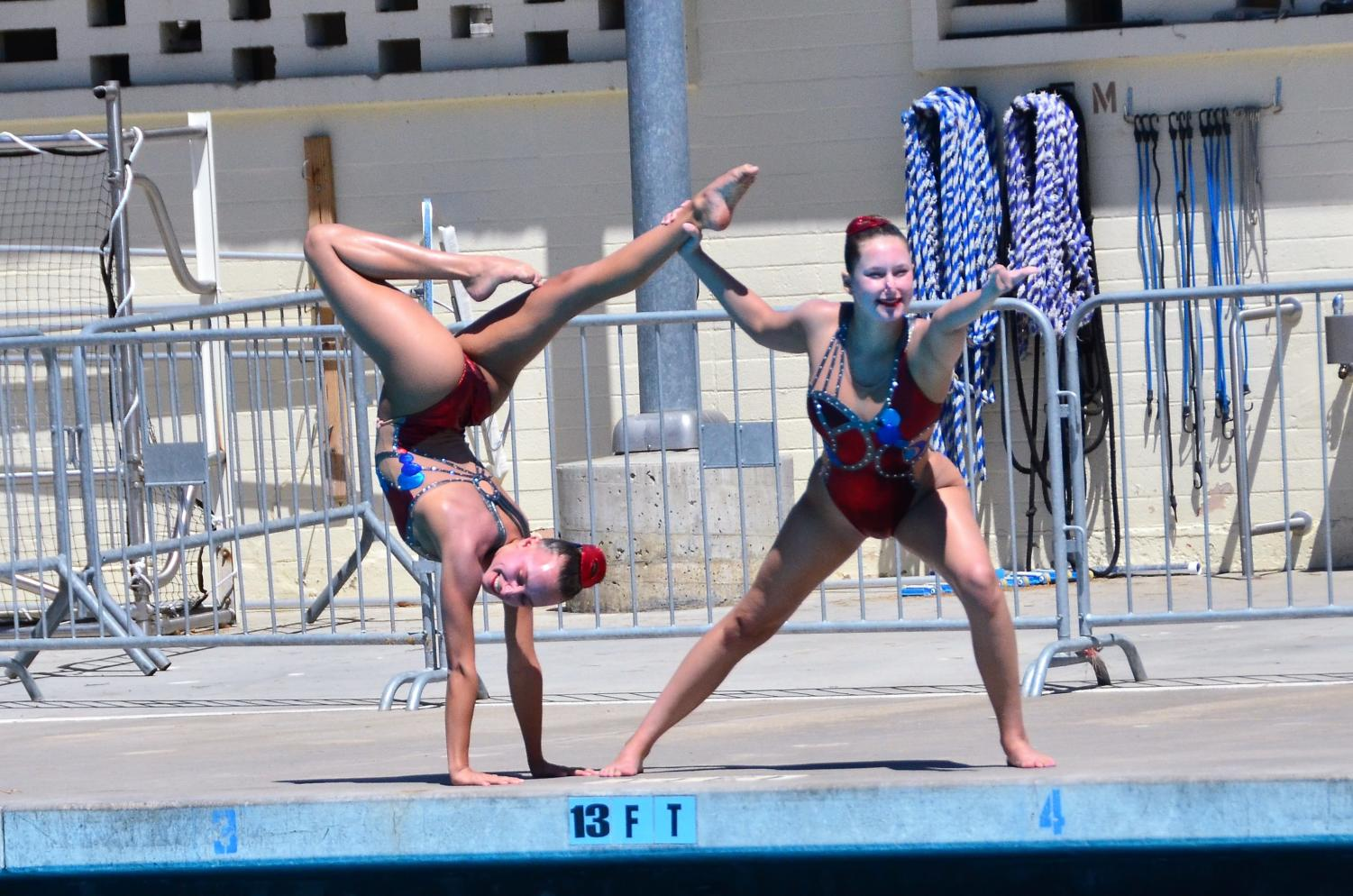Niki Szekely and partner Emma Thullen perform a doubles routine.
