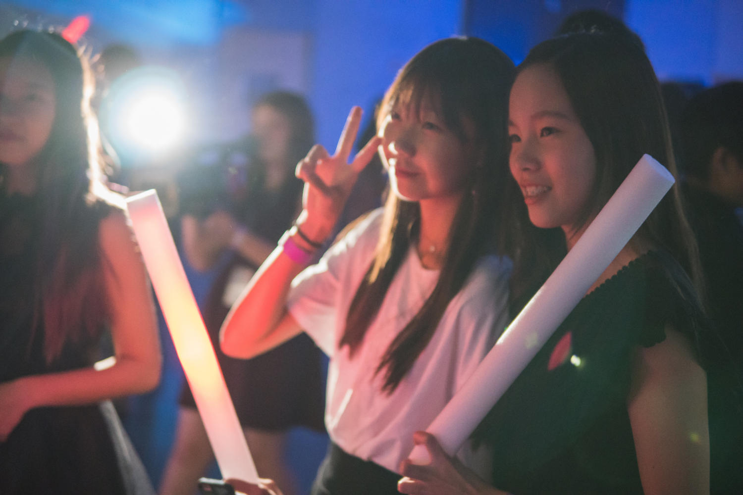 Freshmen Vivian Lin and Mary Lu strike a smile for a photo during the dance.