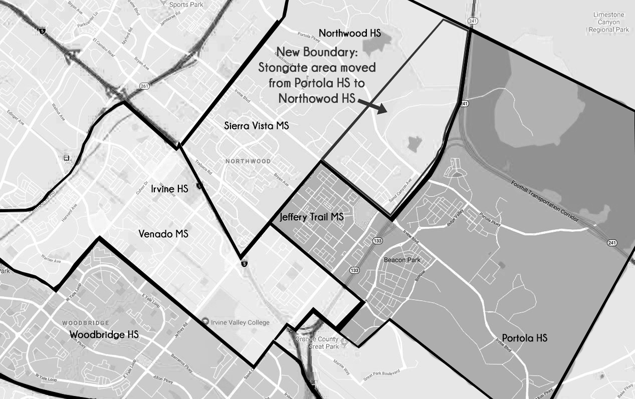 A map of the adjustments that will be implemented August 2019 affect the neighborhood of Stonegate.