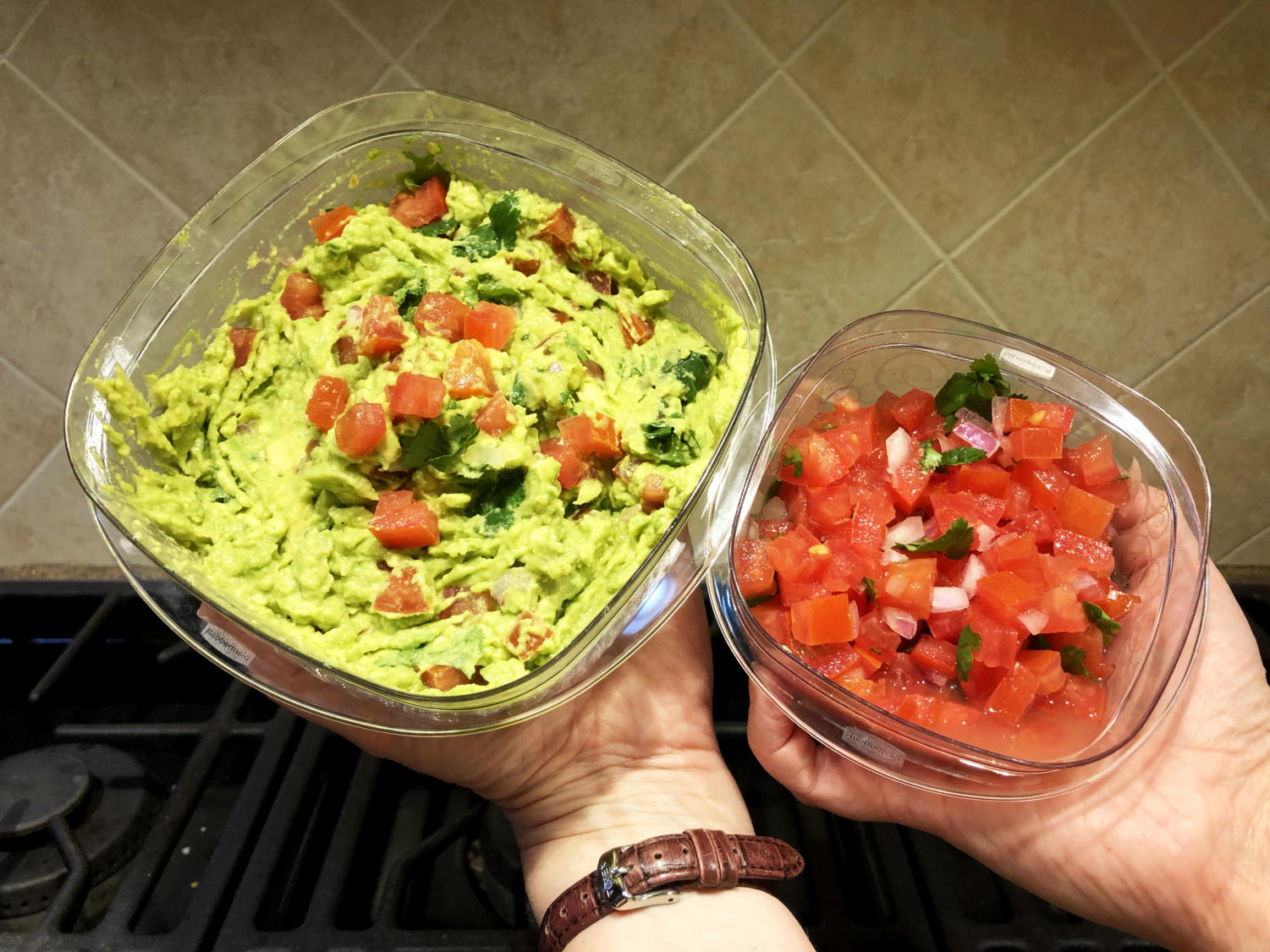 Featured are a bowl of fresh guacamole and pico de gallo with refreshing ingredients like lime juice and cilantro.