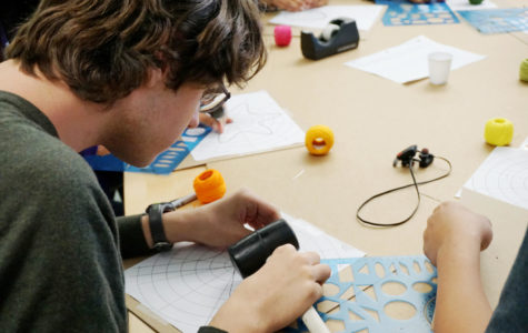 Students Study by Stitching String Shapes