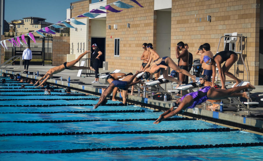 Lined+up+at+the+blocks%2C+swimmers+leap+into+the+water+and+swim+one+lap+of+each+stroke+with+10+seconds+between+each+set+of+swimmers.+