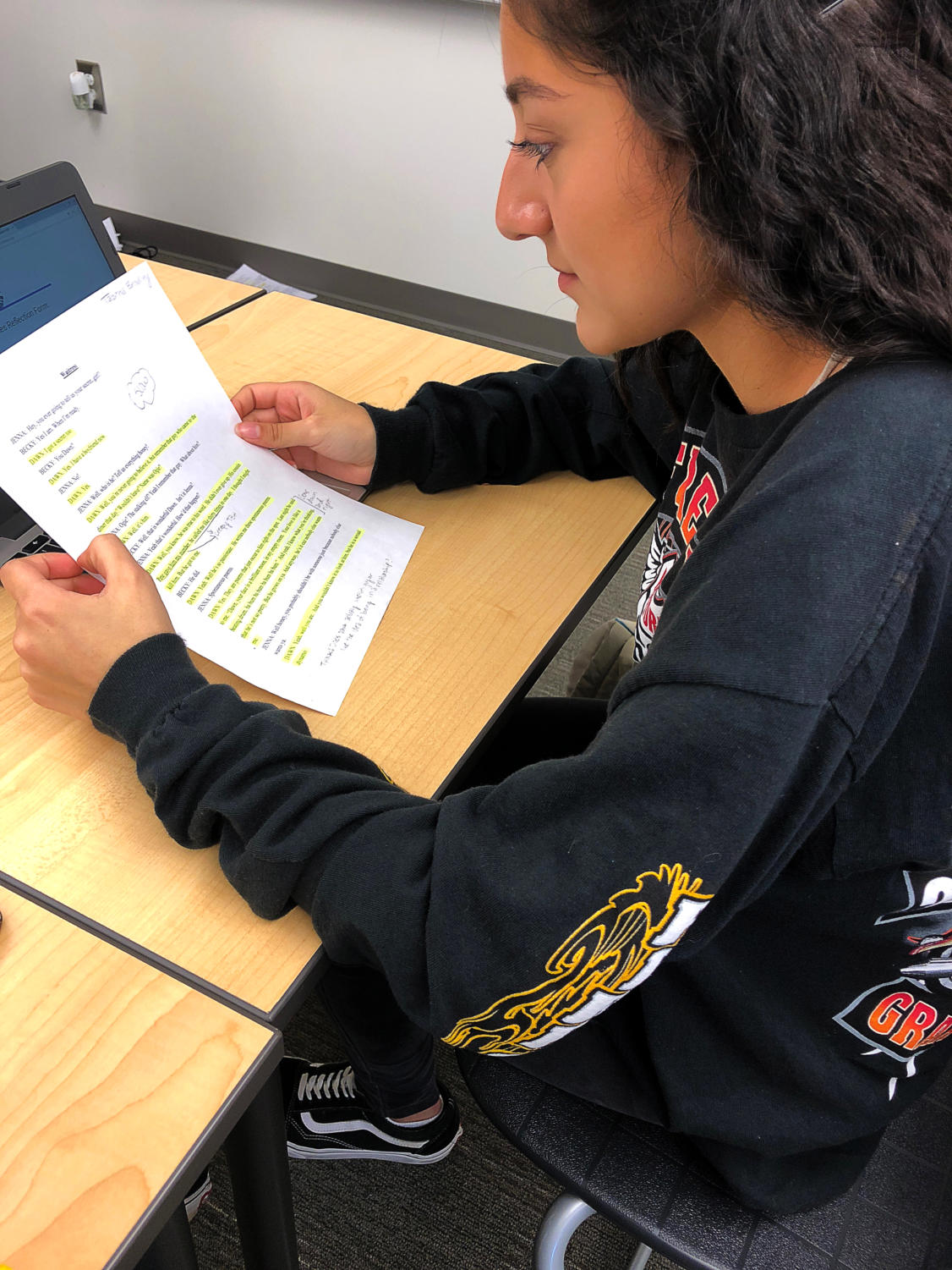 Drama 2 student and sophomore Giselle Villegas practices memorizing her lines from her monologue, which is her final project of the year.