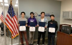 Brian Hawkins, Nikhil Jha, Patrick Cui and Matthew Kwon received the Congressional App Challenge award on Nov. 30 for their work on Portolapp, which was built to help students with the no bell system.