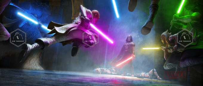 Concept+art+for+the+film%2C+showing+several+jedi+engaged+in+battle+with+Darth+Vader%2C+a+sith+lord.