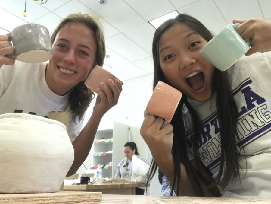 Students+Niki+Szekely+and+Haley+Truong+created+mugs+and+pinch+pot+bowls+in+an+array+of+different+sizes%2C+shapes+and+colors.+After+completing+assigned+projects%2C+students+are+able+to+utilize+their+free+time+and+express+creativity+through+sculpting+personalized+projects.