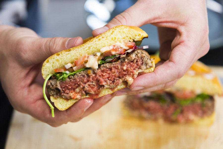According+to+a+press+release%2C+the+Impossible+Burger+2.0%E2%80%99s+patty+is+firmer%2C+so+the+meat+can+be+cooked+in+many+methods+while+still+retaining+texture+and+taste.+