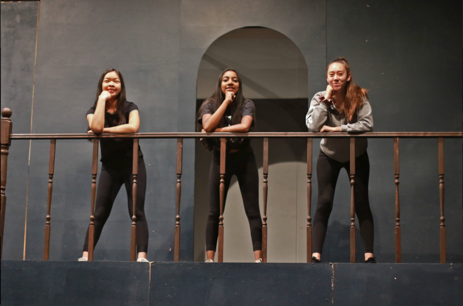 Ancestors and juniors Trisha Andrews, Tabitha Bradley and Danaley Silan end the first act on the second story set.