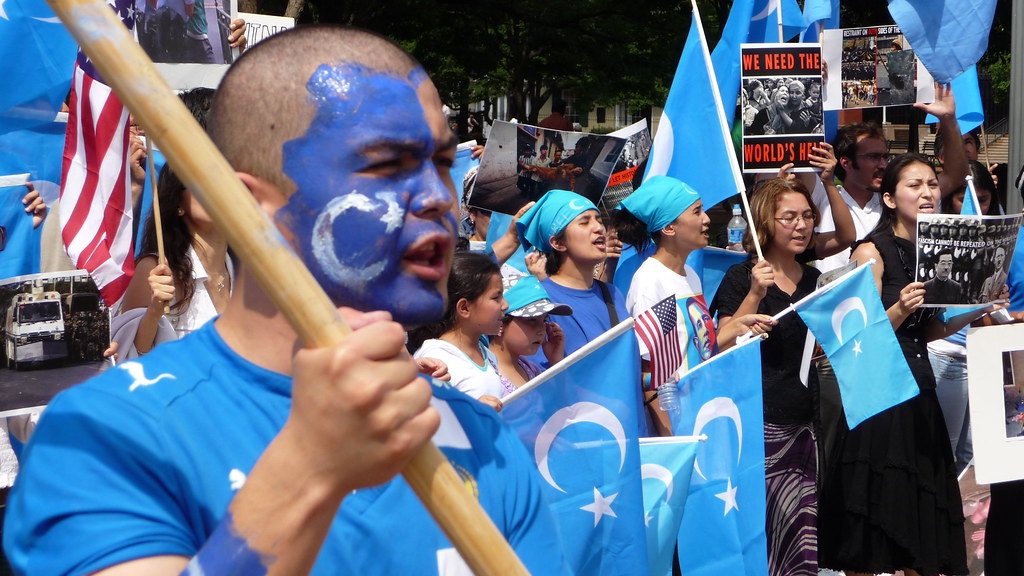 Protesters in front of the White House rally against the internment of Uighur Muslims in China's Xinjiang Province. According to CNN, up to a million Muslims are being detained in China's internment camps.