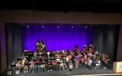 Mr. Stevens conducts his String Orchestra as they perform at the Fine Arts Assembly.
