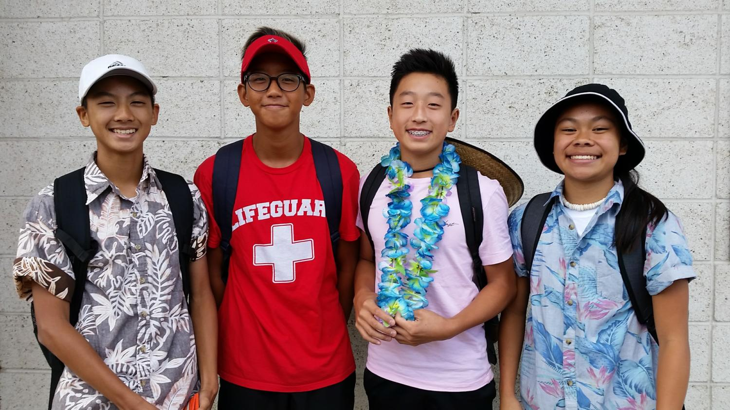 Sugita, Kim, Chung and Tabayoyong sport their tacky-tourist-themed outfits on the first day of Spirit Week.