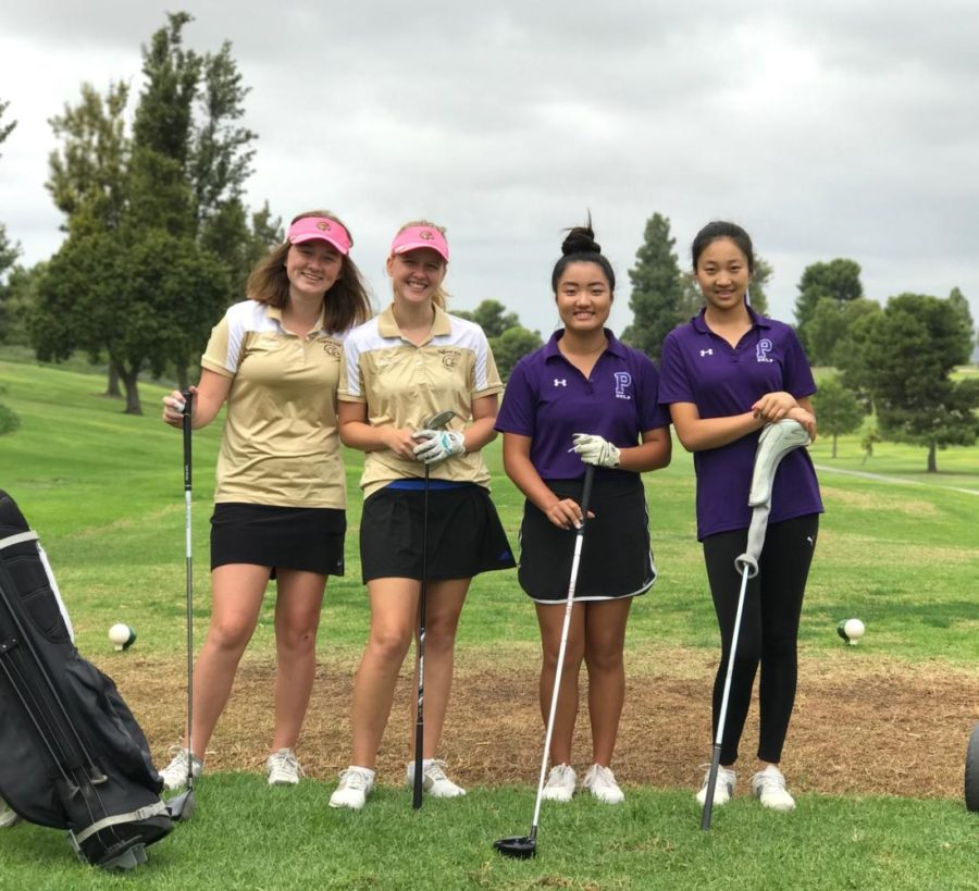 Katherine+Liang+and+Victoria+Zhao+pose+with+two+golfers+from+El+Toro+High+after+the+match.