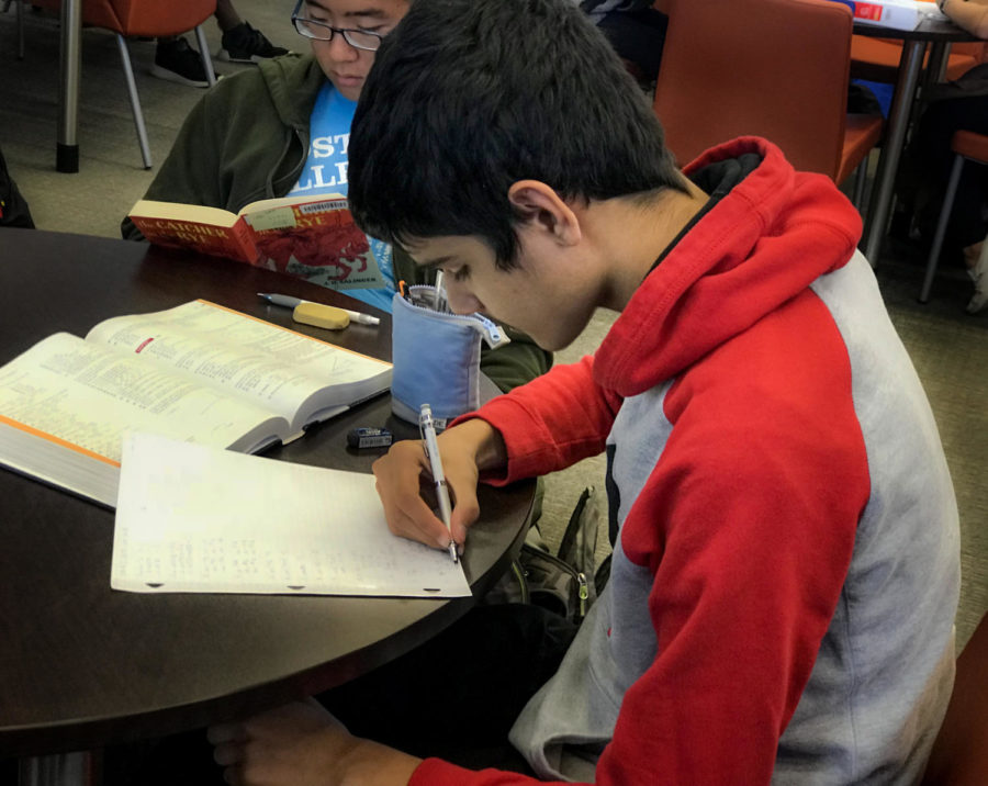 Sophomore+and+Pre-Calc+student+Nikhil+Jha+works+on+his+homework+during+his+open+5th+period.