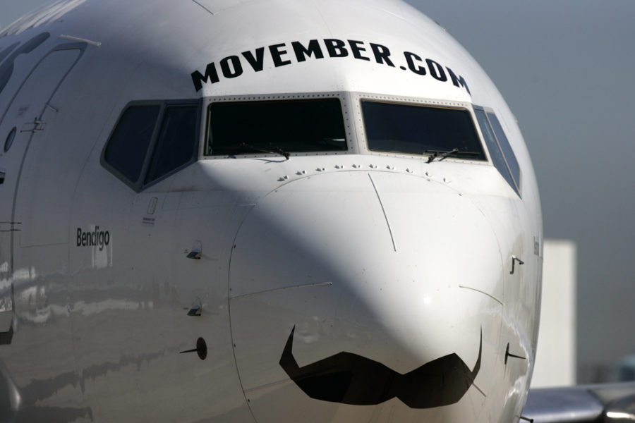 An+aircraft+with+a+mustache+on+the+front+to+raise+awareness+for+men%27s+health.
