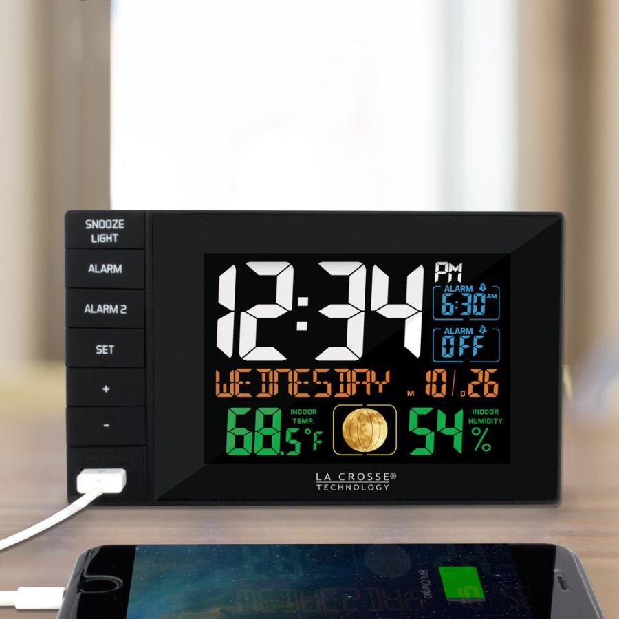 Desktop Dual USB Charging Station with Dual Alarms by La Crosse Technology.