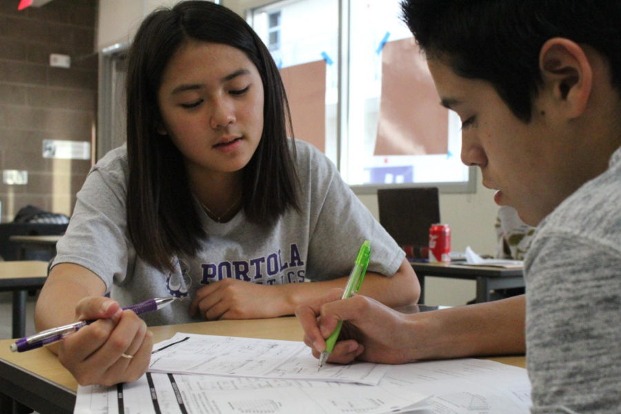 Peer+tutor+Lauren+Hwang+assists+freshman+Andre+Quiroz+with+functions+and+other+math+topics+during+eighth+period.