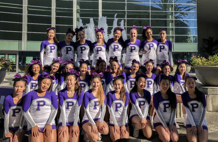 The+cheer+squad+gathered+at+10+a.m.+on+finals+day+to+review+score+sheets+and+proceed+to+compete+at+2%3A20+p.m.+for+a+national+ranking.+