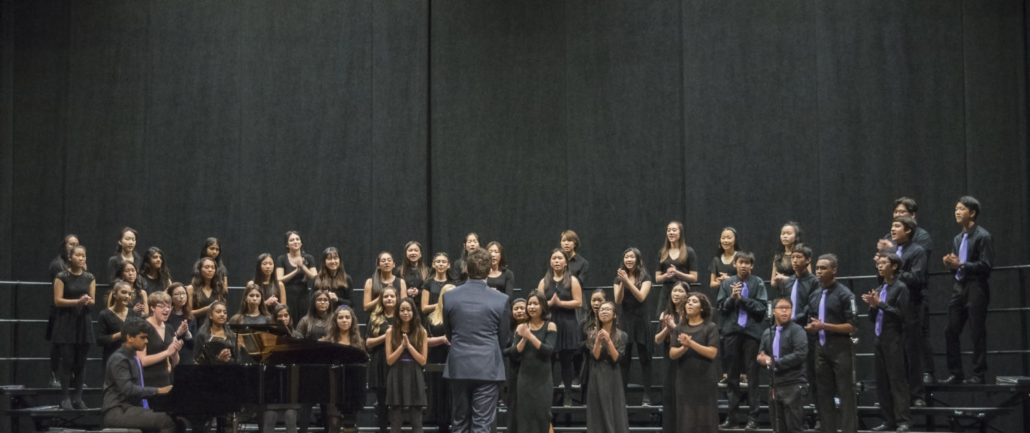 Sophomores and freshmen sing together, accompanied by sophomore Nishad Francis at the piano. Choir entered its first festival and received the highest award from the judges.