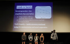 "Freshmen Abby Hopper, Ariana Wu, Akshay Raj, Faith DeNeve, Jane Kim and Satvik Chennareddy presented their project ""Higher Empathy for Youth"" to students and panelists in the audience."