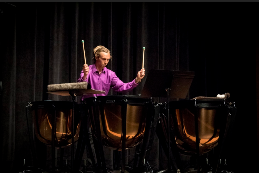 Trevor Dolce plays the marimba, snare drum, and the timpani, the three main percussion instruments as they all represent different skills required to be a percussionists. The marimba requires melodic sensibility, the snare drum rhythm, and the timpani a balancing act between the two.