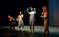 Dorothy, Scarecrow, Tinman and the Lion are about to embark on their journey to the Land of Oz.