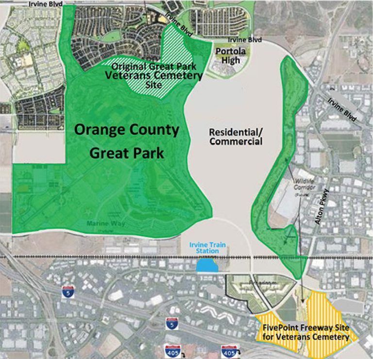 """Striped in green is where the cemetry would be with a """"no vote,"""" while the yellow striped area will be where the """"yes vote"""" would place the cemetery."""