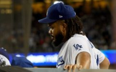 Dodgers closer Kenley Jansen (a strong pitcher who closes off the game to shut down the opposing team's batting) watches the ninth inning of game five from the dugout, knowing that the team had lost. Jansen, along with the team, had not performed his best and was pulled out of many games early due to errors made.
