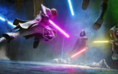 Concept art for the film, showing several jedi engaged in battle with Darth Vader, a sith lord.