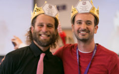 After listening to the kind words their colleagues shared about them during the holiday luncheon, teachers Eric Graham and Desmond Stevens are crowned the 2018-19 teachers of the year for demonstrating Portola's PRIDE values.