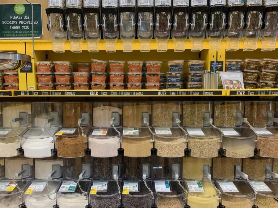 The bulk bins found at Whole Foods Market are frequented by chemistry teacher Brittney Kang and many other zero-wasters for enabling the option of reusable containers over plastic packaging.