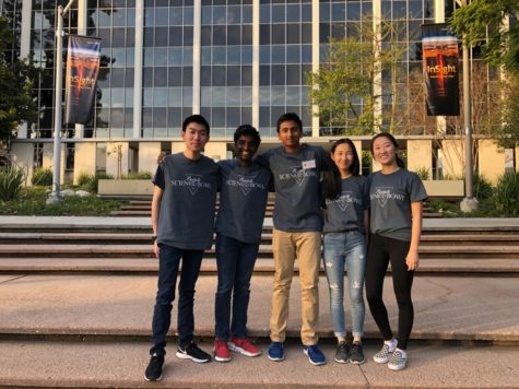William Hsieh, Sai Kuppili, Shishir Ravipati, Elena Kim, and Joanna Fan participated in the National Science Bowl at NASA's Jet Propulsion Laboratory (JPL) in La Cañada Flintridge, California. The team placed 13 out of 24 teams and had the opportunity to meet people working at JPL.