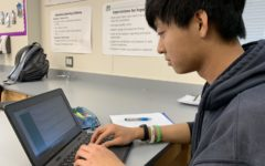 Many teachers utilize interactive student learning programs such as Quizlet Live where students compete in teams to see who can provide correct answers in the least amount of time. Here, in Chinese class Junior Leo Yu utilizes his Chromebook to participate in Quizlet Live to help him review vocabulary.