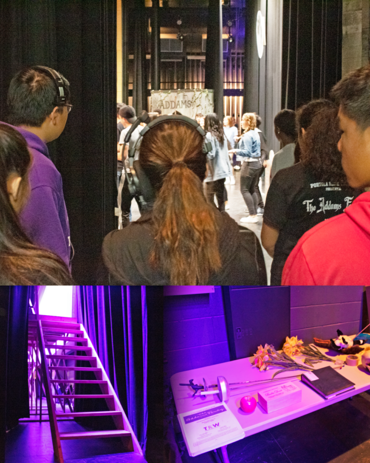 (Top) Technical theater students watch a rehearsal from backstage, ready to respond to every cue. (Bottom Left) Students built their own flight of stairs backstage that will be used by singers. (Bottom Right) The prop table holds a variety of objects that will be used throughout the show.