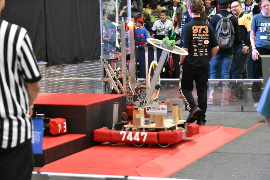 At+the+Orange+County+Regionals%2C+the+FIRST+Robotics+team+won+sixth+place+after+its+award-winning+robot+demonstrated+several+skills+the+judges+were+looking+for.+