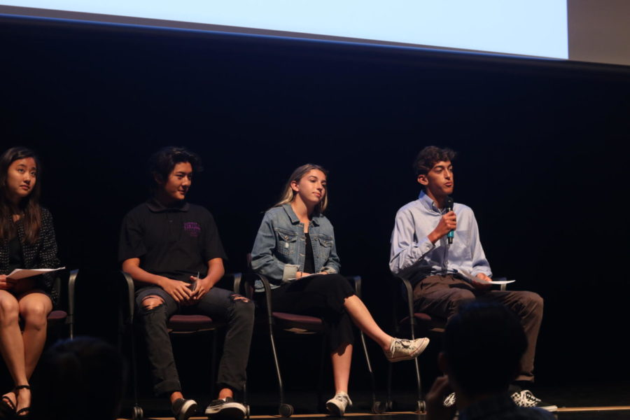Belal Ibrahim responds to a question about how he intends to bring more spirit to Portola's Poseidon house as (from left) Tawni Sugita, Matthew Vo, and Jordan Amlen look on.