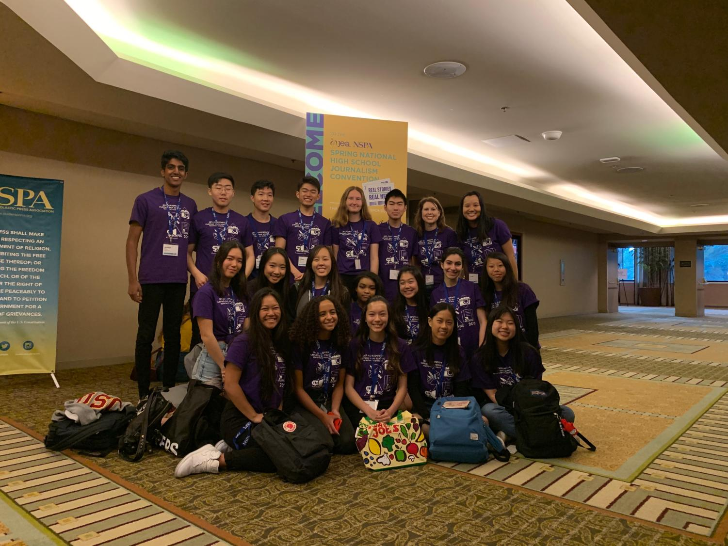 Eighteen Portola Pilot and Yearbook students attended the National Scholastic Press Association convention in Anaheim along with advisers Brianna Rapp and Crystal Le.