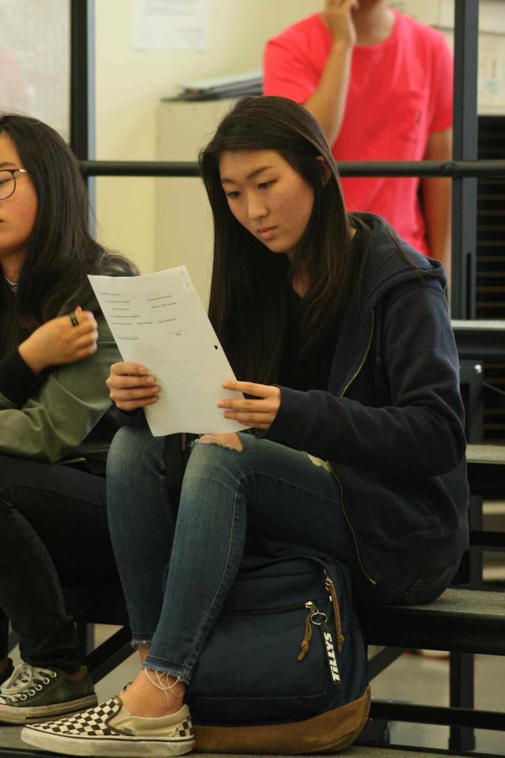 Freshman Bia Shok looks over the 2019 leadership responsibilities after receiving the position of woodwind captain and assistant drum major. She will work closely with drum major and junior Stephanie Tang, planning summer musical gatherings and extra practices.
