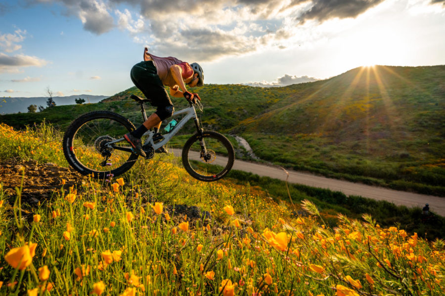 Junior Dylan Vanek lanches off a rock face on his mountain bike in the Santa Ana Mountains. This time of the year is the best to explore the mountains because of the moderate temperatures and flower bloom.