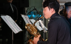 "As the finale of the concert, freshman Garrett Lee showcases his saxophone skills in musicality and improvisation with the jazz classic ""Mambo Inn,"" a song highlighting two unique instruments: timbales and congas."