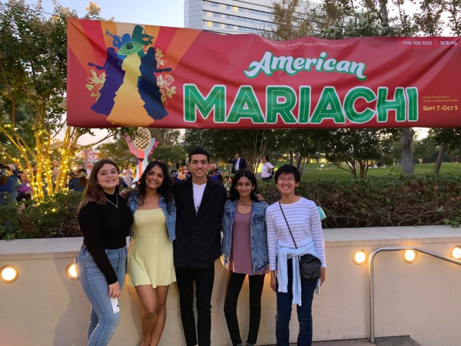 "Cappies members sophomore Paris Suttle, junior Raksha Rajeshmohan, senior Nick Sanchez, sophomore Sushmitha Koomar and sophomore Kristen Fong attend ""American Mariachi"" at South Coast Repertory for their first show as a team. After the show, the group participated in insightful conversations regarding the set, lighting and design of the production."
