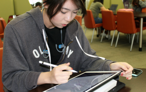Digital drawing enables Hung to continue her pieces anywhere on the go, whether in the Learning Commons during lunch or after school at the local Panera Bread in Woodbury Town Center.
