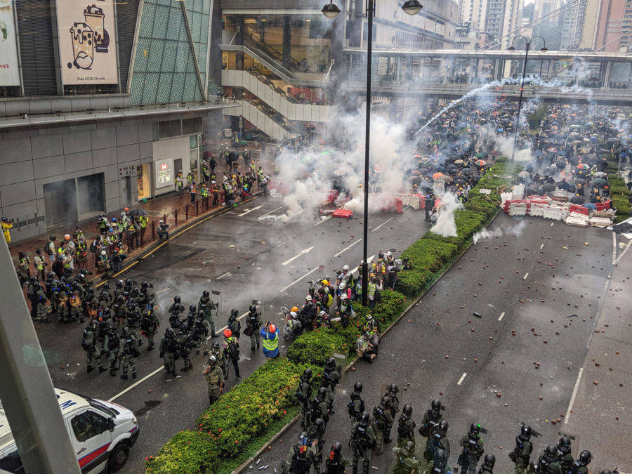 Hong Kong riot police attempt to disperse the protesters during the Tsuen Wan March on Aug. 25.