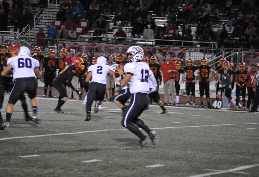 Yue drops back in the pocket to pass the football. The Bulldog offense has been able to confuse defenses with Yue's ability to both run and throw the ball proficiently.