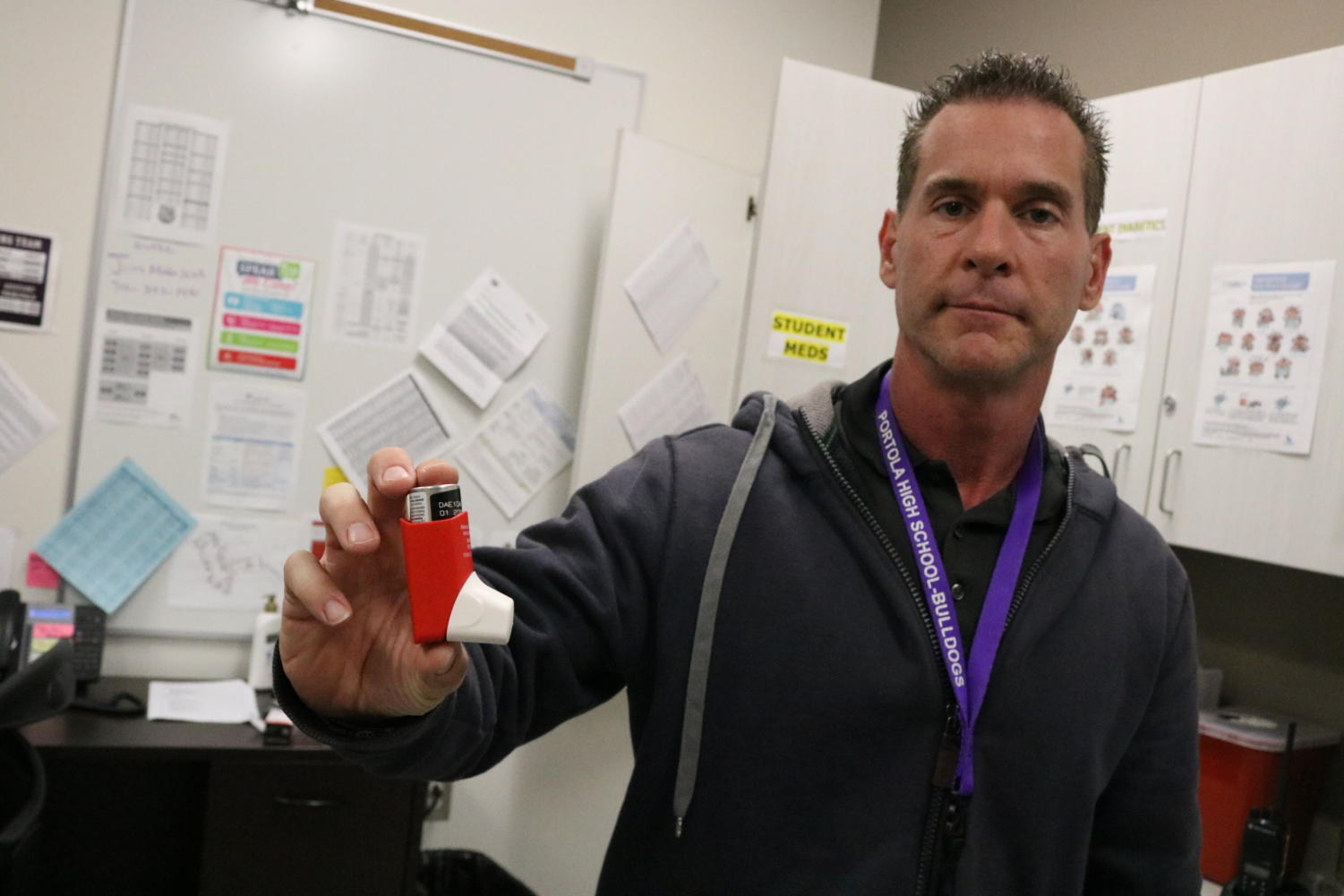 For students sensitive to the air quality, breathing devices like emergency inhalers stored in the nurse's office provide some peace of mind during an intense California fire season.