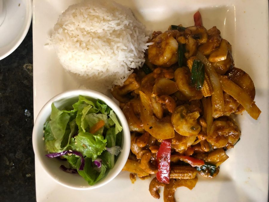 The spicy cashew shrimp, one of the rice dishes on the menu, had a variety of ingredients like baby corn and mushrooms. While the cut on some of these ingredients was largely inconsistent, it took nothing away from the complex flavor combination of sweetness and acidity.