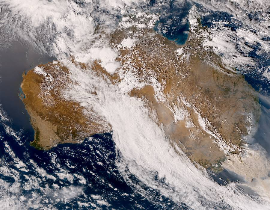 The Australian megafires as seen by the Himawari 8, a Japanese weather satellite show the overhead conditions of the continent. Smoke from the fires in Australia has reduced air quality, forcing citizens to evacuate, and has reached as far as Chile, according to NPR.