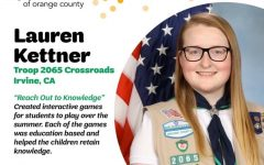 "Senior and Girl Scout Troop 2065 member Lauren Kettner successfully achieved her Gold Award by introducing her project ""Reach Out to Knowledge,"" which focused on helping educate children on concepts they may forget throughout the summer at local libraries."