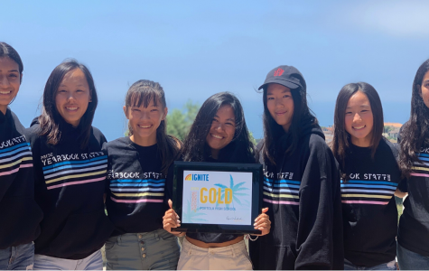 IGNITING PASSION. Sophomore Maya Vanek, senior Maddy Noh, sophomore Sophia Steinert, seniors Kaitlyn Nguyen-Pham and Grace Tu, junior Haley Hosokawa and sophomore Safah Faraz represented the yearbook staff at the annual IGNITE yearbook camp held at Pepperdine University. While they have won gold in the past, they were only one of four programs to win a gold award this year.